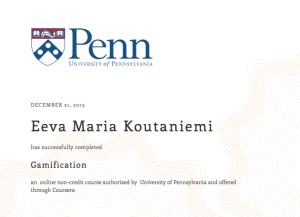 Eeva's course certificate